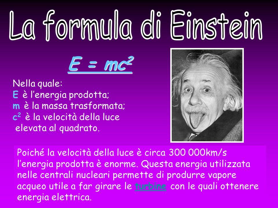 Nella quale: E è l'energia prodotta; m è la massa trasformata; c 2 è la velocità della luce elevata al quadrato.