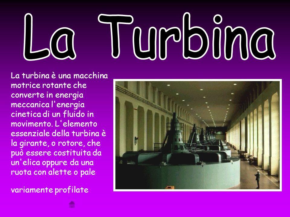 La turbina è una macchina motrice rotante che converte in energia meccanica l energia cinetica di un fluido in movimento.