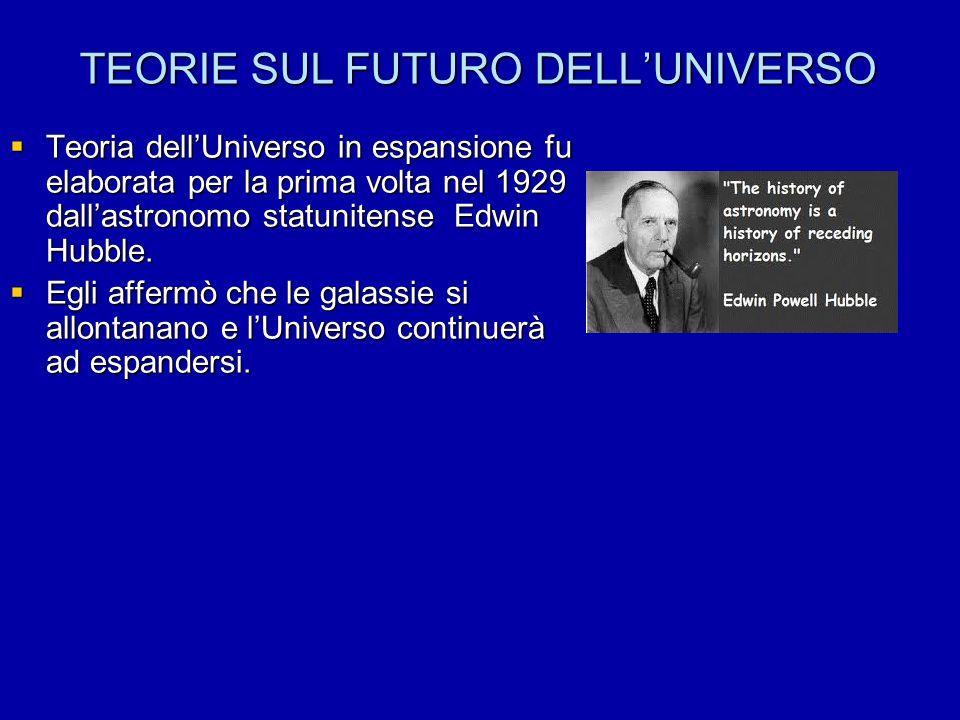 TEORIE SUL FUTURO DELL'UNIVERSO  Teoria dell'Universo in espansione fu elaborata per la prima volta nel 1929 dall'astronomo statunitense Edwin Hubble.