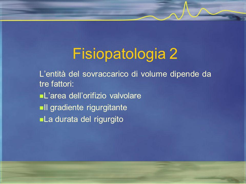Fisiopatologia 2 L'entità del sovraccarico di volume dipende da tre fattori: L'area dell'orifizio valvolare Il gradiente rigurgitante La durata del ri