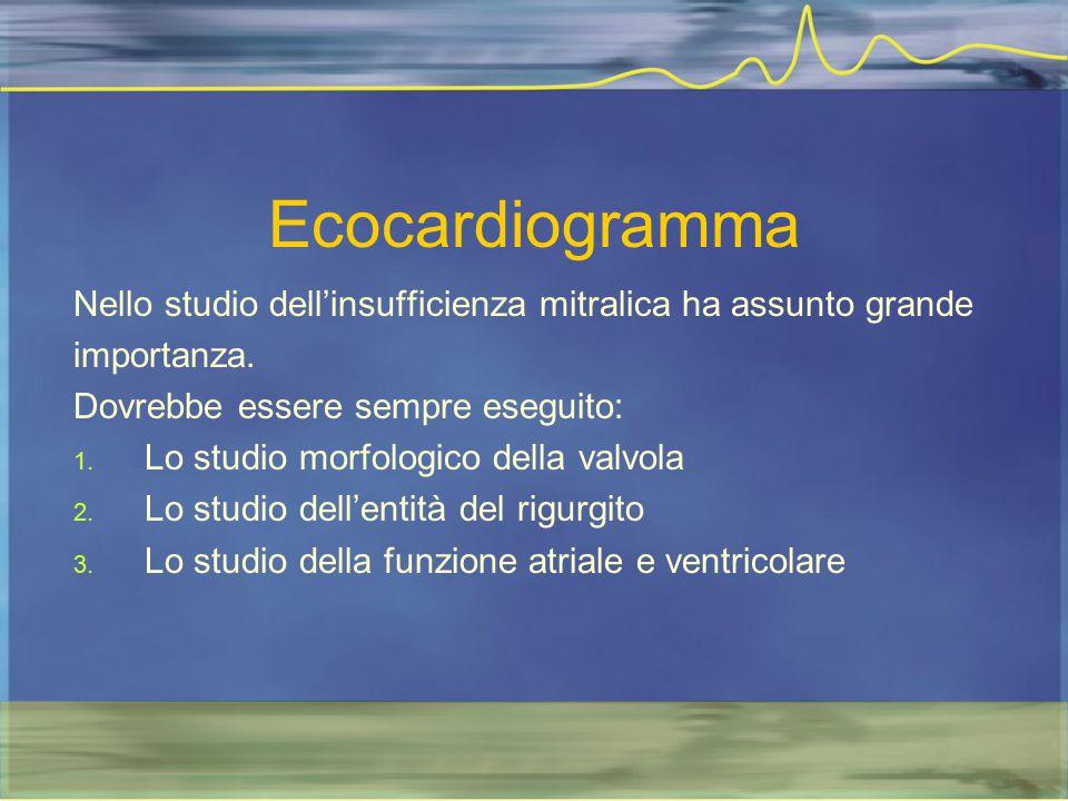 Ecocardiogramma Nello studio dell'insufficienza mitralica ha assunto grande importanza. Dovrebbe essere sempre eseguito: 1. Lo studio morfologico dell