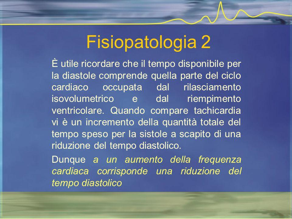 Fisiopatologia 2 È utile ricordare che il tempo disponibile per la diastole comprende quella parte del ciclo cardiaco occupata dal rilasciamento isovo