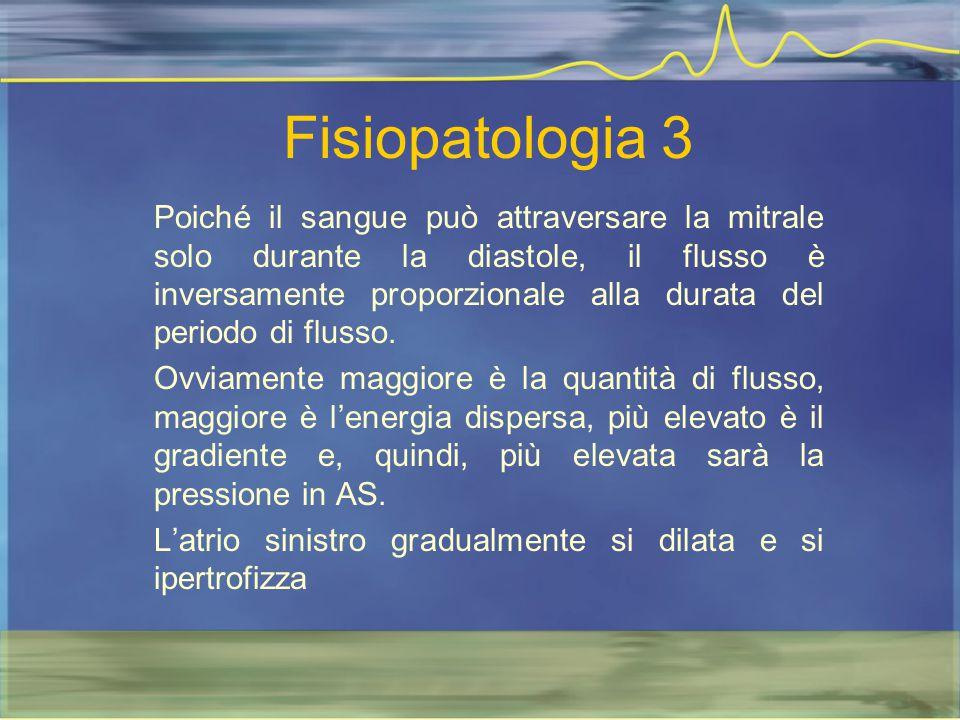 Fisiopatologia 3 Poiché il sangue può attraversare la mitrale solo durante la diastole, il flusso è inversamente proporzionale alla durata del periodo
