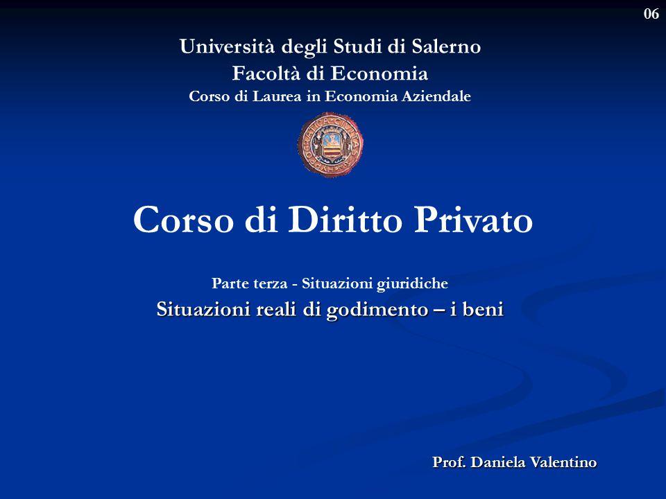 06 Università degli Studi di Salerno Facoltà di Economia Corso di Laurea in Economia Aziendale Prof. Daniela Valentino Corso di Diritto Privato Parte