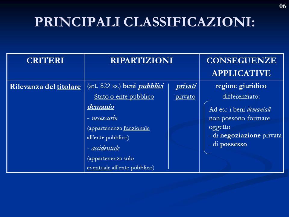 06 PRINCIPALI CLASSIFICAZIONI: CRITERIRIPARTIZIONICONSEGUENZE APPLICATIVE Rilevanza del titolare (art. 822 ss.) beni pubblici privati Stato o ente pub