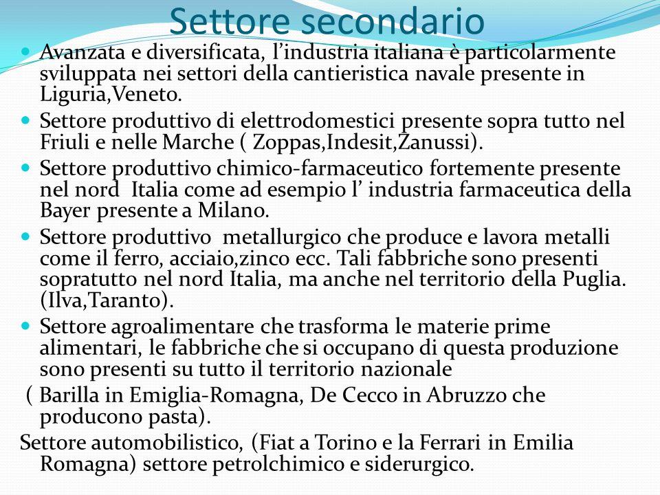 Settore secondario Avanzata e diversificata, l'industria italiana è particolarmente sviluppata nei settori della cantieristica navale presente in Ligu