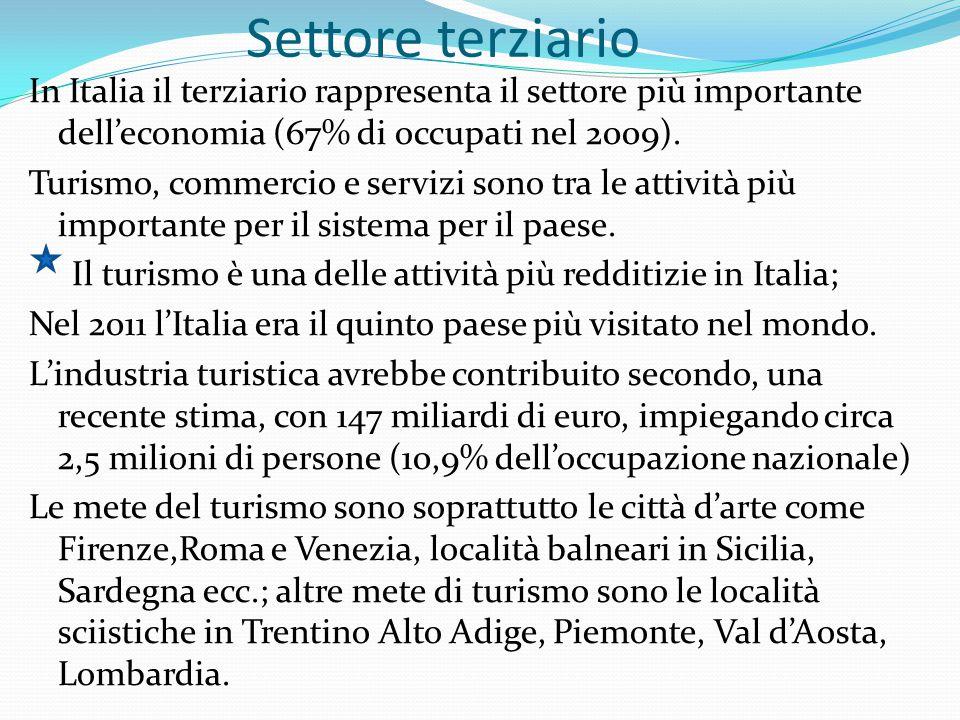 Settore terziario In Italia il terziario rappresenta il settore più importante dell'economia (67% di occupati nel 2009). Turismo, commercio e servizi