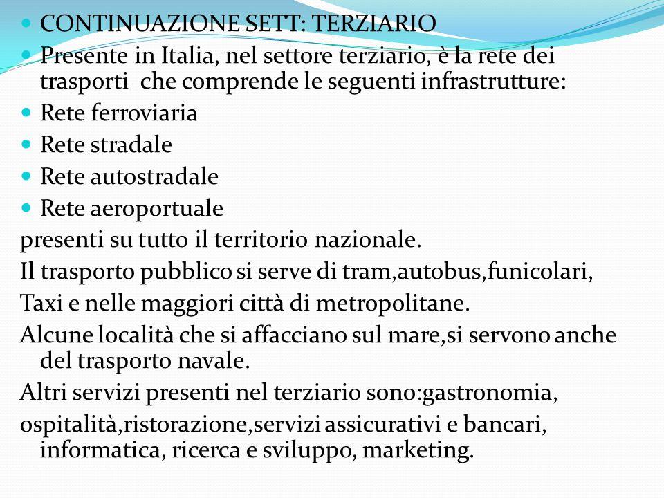 s CONTINUAZIONE SETT: TERZIARIO Presente in Italia, nel settore terziario, è la rete dei trasporti che comprende le seguenti infrastrutture: Rete ferr