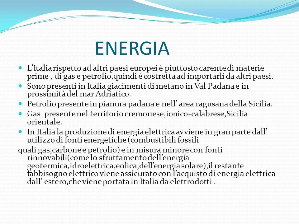 ENERGIA L'Italia rispetto ad altri paesi europei è piuttosto carente di materie prime, di gas e petrolio,quindi è costretta ad importarli da altri pae