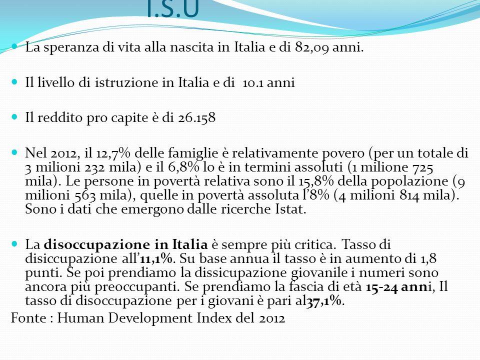 I.S.U La speranza di vita alla nascita in Italia e di 82,09 anni. Il livello di istruzione in Italia e di 10.1 anni Il reddito pro capite è di 26.158