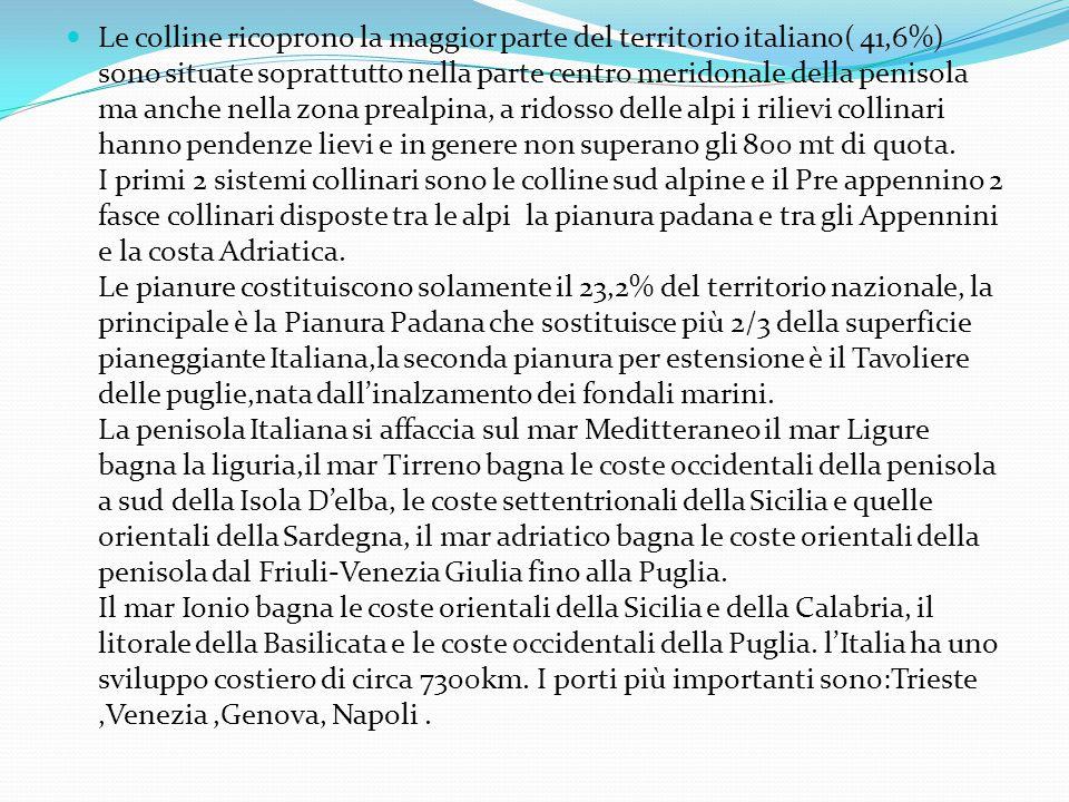 Le colline ricoprono la maggior parte del territorio italiano( 41,6%) sono situate soprattutto nella parte centro meridonale della penisola ma anche n