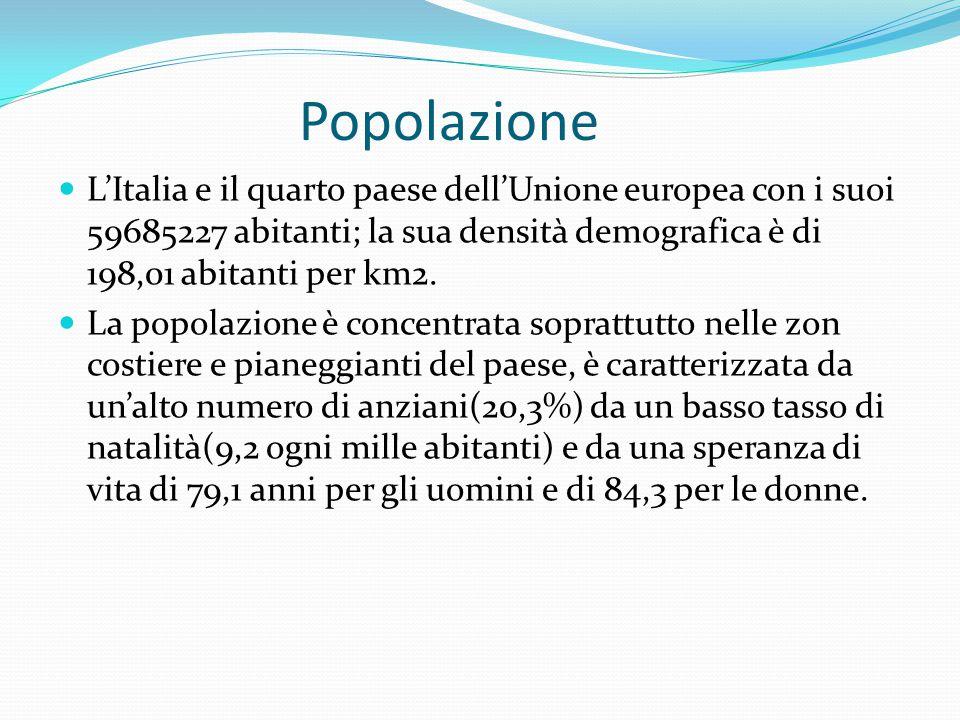 Popolazione L'Italia e il quarto paese dell'Unione europea con i suoi 59685227 abitanti; la sua densità demografica è di 198,01 abitanti per km2. La p