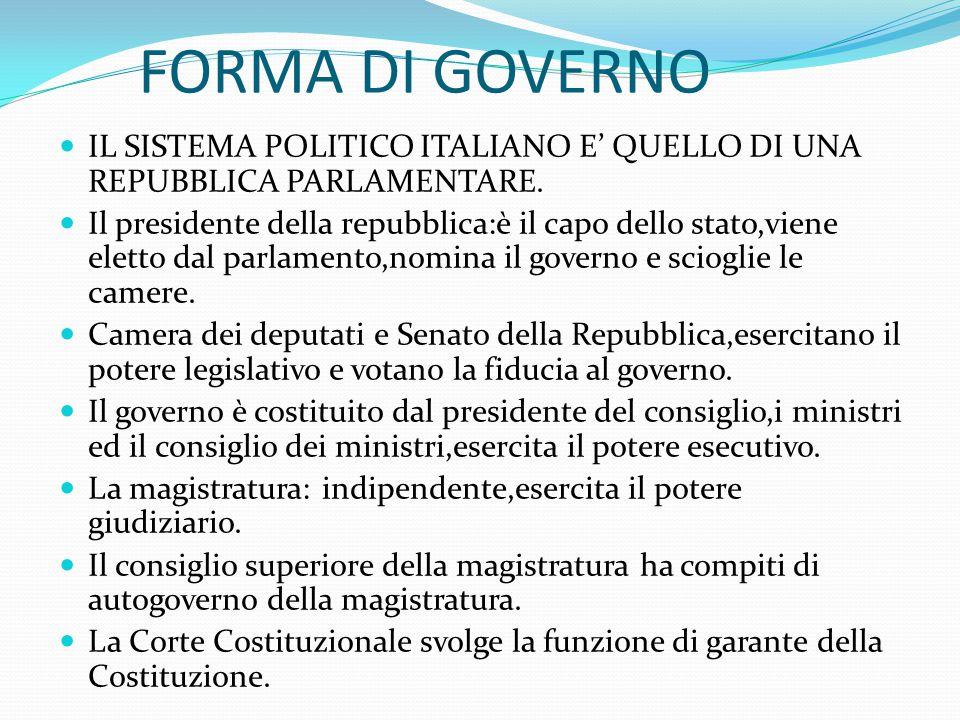 FORMA DI GOVERNO IL SISTEMA POLITICO ITALIANO E' QUELLO DI UNA REPUBBLICA PARLAMENTARE. Il presidente della repubblica:è il capo dello stato,viene ele