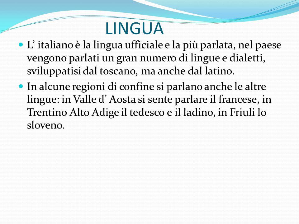 LINGUA L' italiano è la lingua ufficiale e la più parlata, nel paese vengono parlati un gran numero di lingue e dialetti, sviluppatisi dal toscano, ma