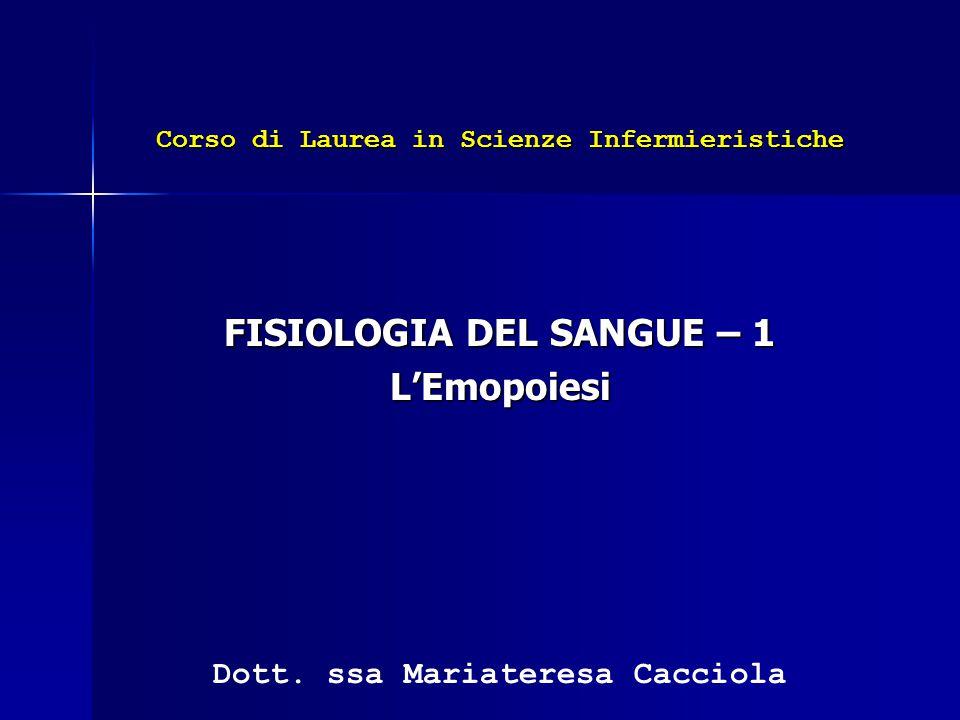 FISIOLOGIA DEL SANGUE – 1 L'Emopoiesi Dott. ssa Mariateresa Cacciola Corso di Laurea in Scienze Infermieristiche