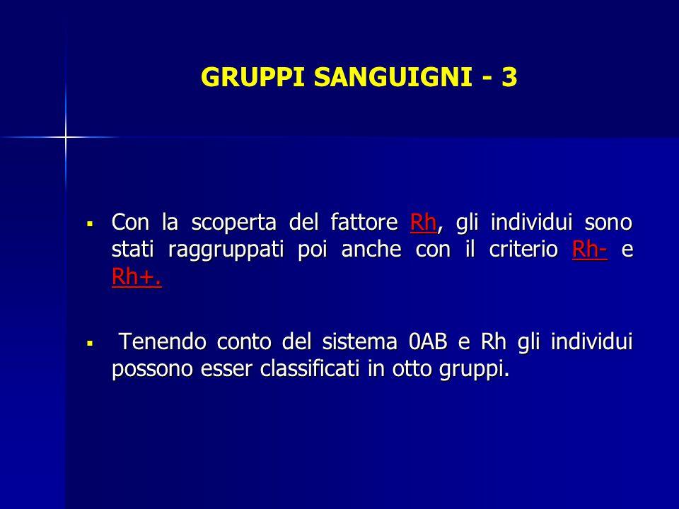 GRUPPI SANGUIGNI - 3  Con la scoperta del fattore Rh, gli individui sono stati raggruppati poi anche con il criterio Rh- e Rh+.  Tenendo conto del s