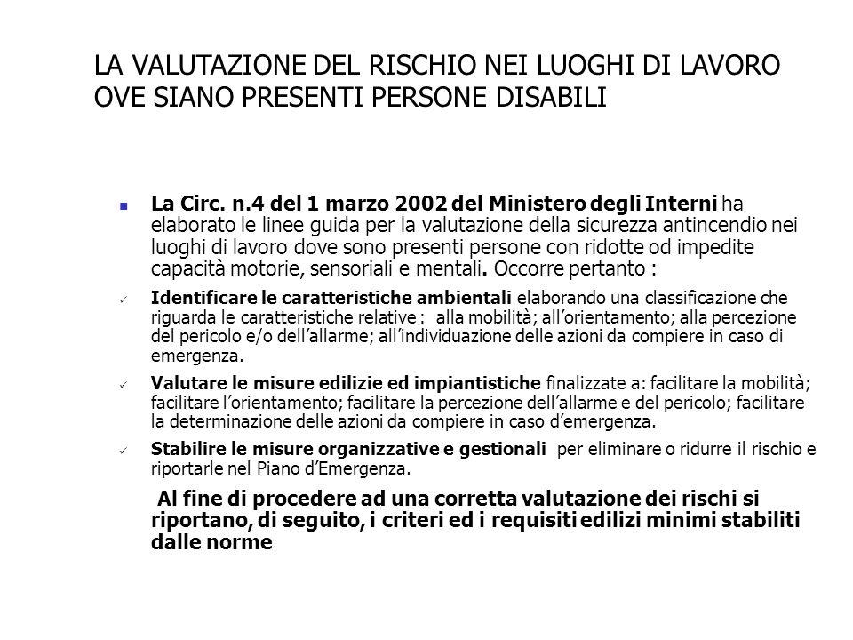 La Circ. n.4 del 1 marzo 2002 del Ministero degli Interni ha elaborato le linee guida per la valutazione della sicurezza antincendio nei luoghi di lav