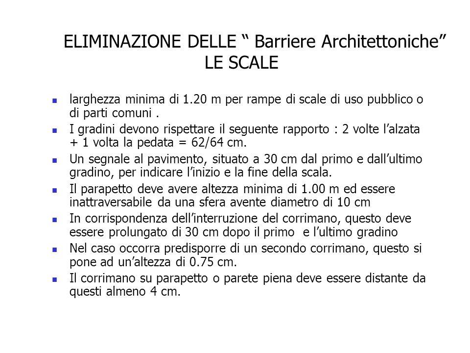larghezza minima di 1.20 m per rampe di scale di uso pubblico o di parti comuni. I gradini devono rispettare il seguente rapporto : 2 volte l'alzata +