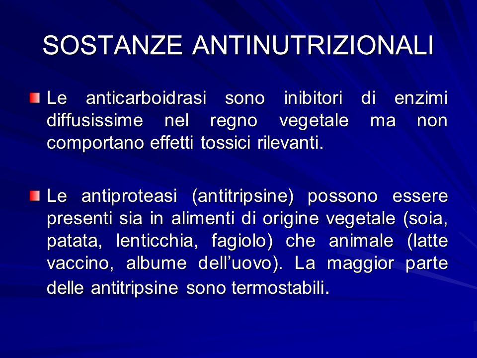 SOSTANZE ANTINUTRIZIONALI Le anticarboidrasi sono inibitori di enzimi diffusissime nel regno vegetale ma non comportano effetti tossici rilevanti. Le