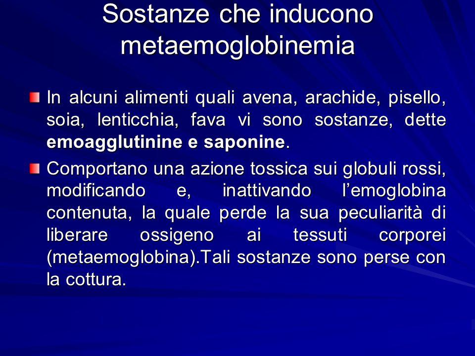 Sostanze che inducono metaemoglobinemia In alcuni alimenti quali avena, arachide, pisello, soia, lenticchia, fava vi sono sostanze, dette emoagglutini