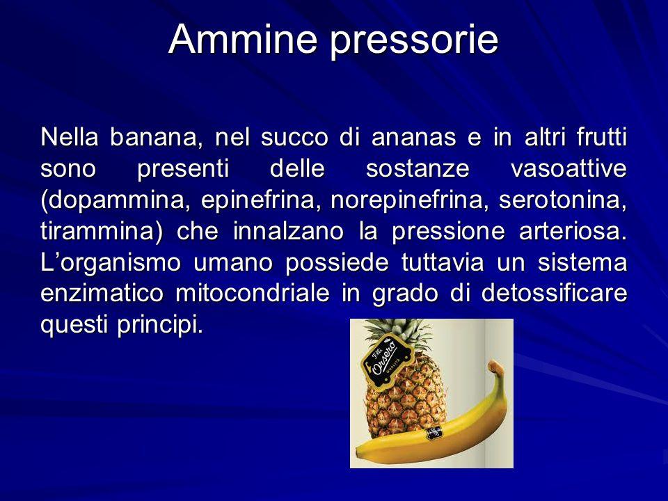 Ammine pressorie Nella banana, nel succo di ananas e in altri frutti sono presenti delle sostanze vasoattive (dopammina, epinefrina, norepinefrina, se
