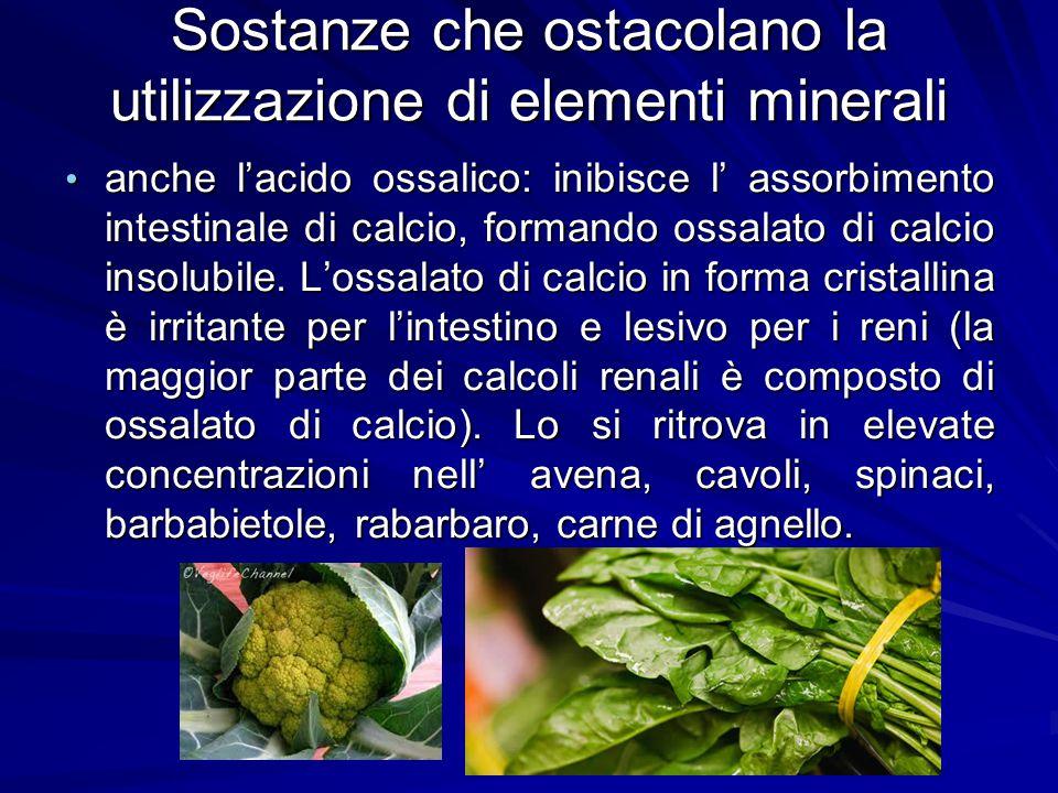 Sostanze che ostacolano la utilizzazione di elementi minerali anche l'acido ossalico: inibisce l' assorbimento intestinale di calcio, formando ossalat