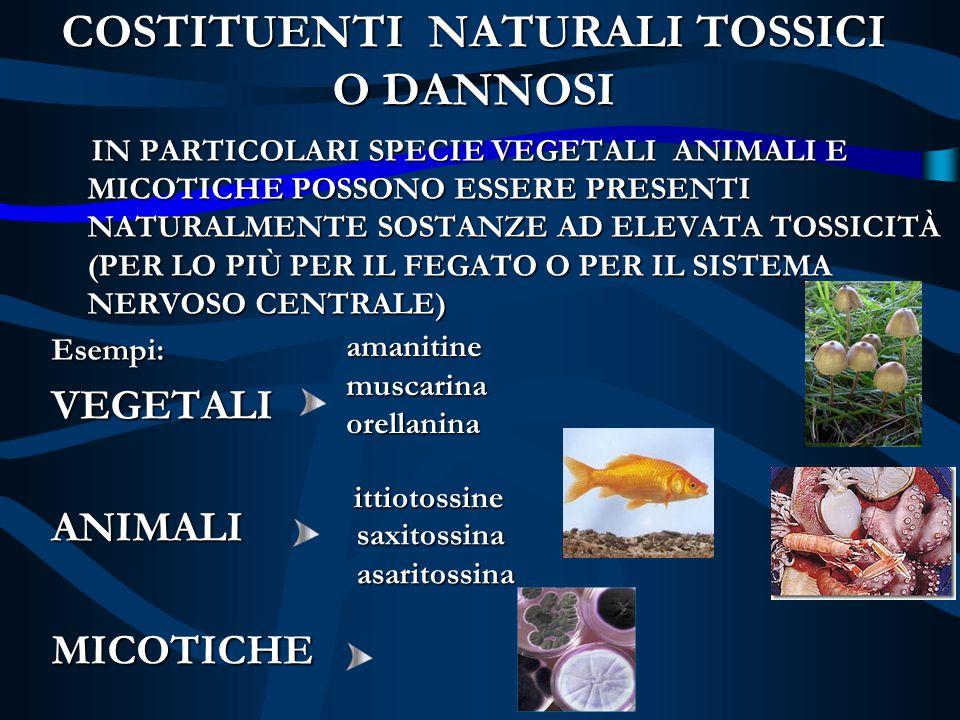 COSTITUENTI NATURALI TOSSICI O DANNOSI IN PARTICOLARI SPECIE VEGETALI ANIMALI E MICOTICHE POSSONO ESSERE PRESENTI NATURALMENTE SOSTANZE AD ELEVATA TOS