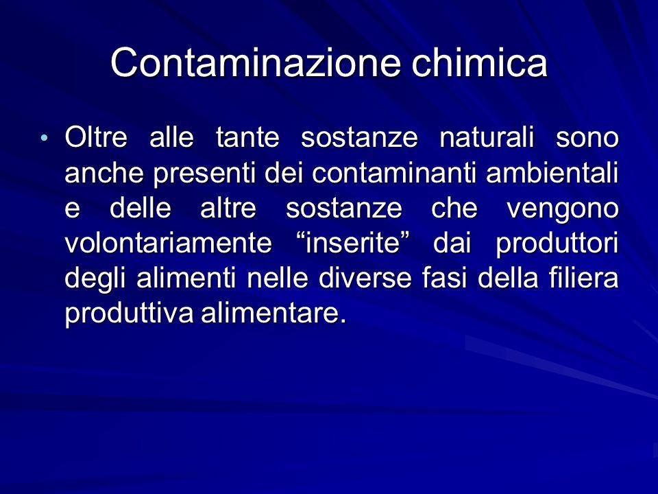 Contaminazione chimica Oltre alle tante sostanze naturali sono anche presenti dei contaminanti ambientali e delle altre sostanze che vengono volontari