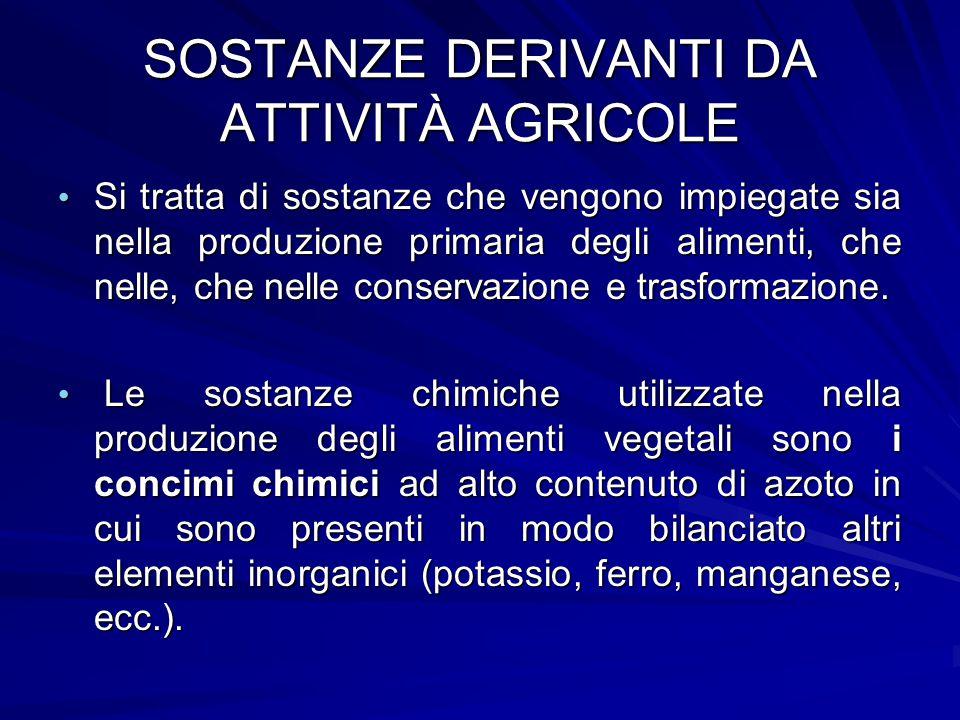 SOSTANZE DERIVANTI DA ATTIVITÀ AGRICOLE Si tratta di sostanze che vengono impiegate sia nella produzione primaria degli alimenti, che nelle, che nelle