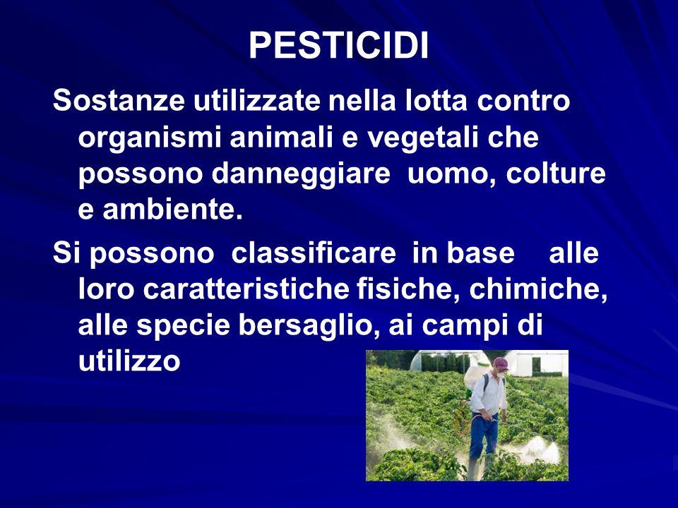 PESTICIDI Sostanze utilizzate nella lotta contro organismi animali e vegetali che possono danneggiare uomo, colture e ambiente. Si possono classificar