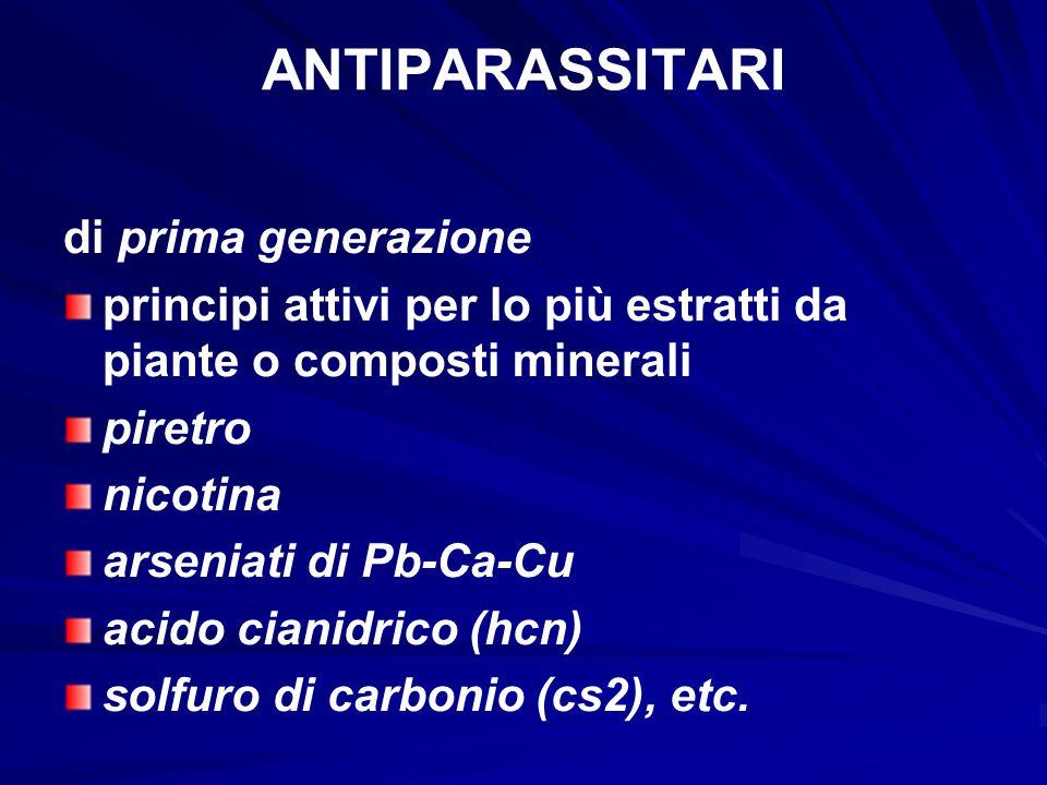 ANTIPARASSITARI di prima generazione principi attivi per lo più estratti da piante o composti minerali piretro nicotina arseniati di Pb-Ca-Cu acido ci