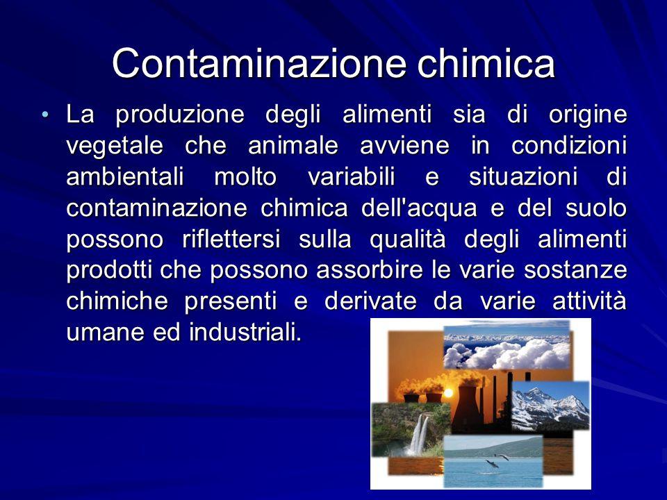 Contaminazione chimica La produzione degli alimenti sia di origine vegetale che animale avviene in condizioni ambientali molto variabili e situazioni