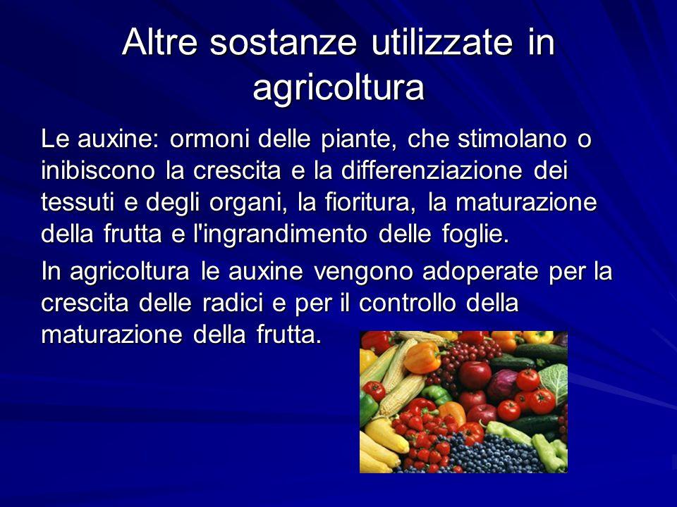 Altre sostanze utilizzate in agricoltura Le auxine: ormoni delle piante, che stimolano o inibiscono la crescita e la differenziazione dei tessuti e de
