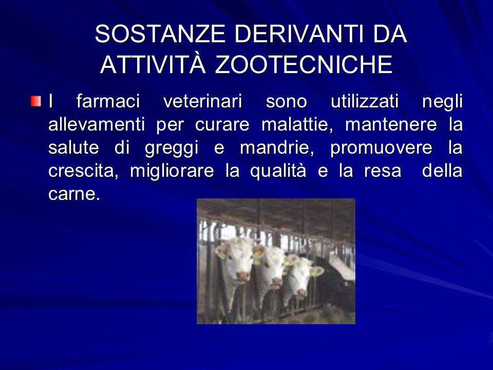 SOSTANZE DERIVANTI DA ATTIVITÀ ZOOTECNICHE SOSTANZE DERIVANTI DA ATTIVITÀ ZOOTECNICHE I farmaci veterinari sono utilizzati negli allevamenti per curar