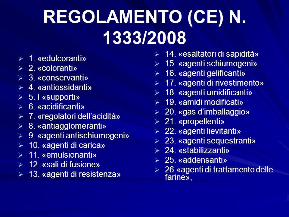 REGOLAMENTO (CE) N. 1333/2008   1. «edulcoranti»   2. «coloranti»   3. «conservanti»   4. «antiossidanti»   5. I «supporti»   6. «acidific