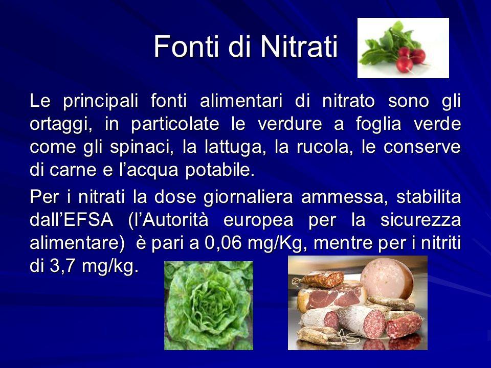 Fonti di Nitrati Le principali fonti alimentari di nitrato sono gli ortaggi, in particolate le verdure a foglia verde come gli spinaci, la lattuga, la
