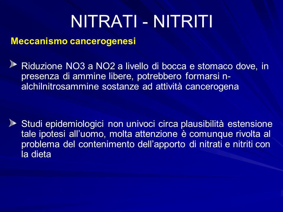 NITRATI - NITRITI Meccanismo cancerogenesi Riduzione NO3 a NO2 a livello di bocca e stomaco dove, in presenza di ammine libere, potrebbero formarsi n-