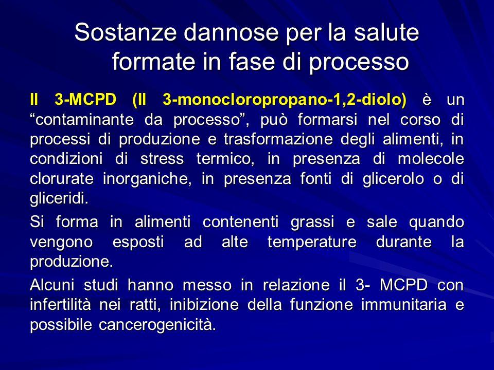 """Sostanze dannose per la salute formate in fase di processo Il 3-MCPD (Il 3-monocloropropano-1,2-diolo) è un """"contaminante da processo"""", può formarsi n"""