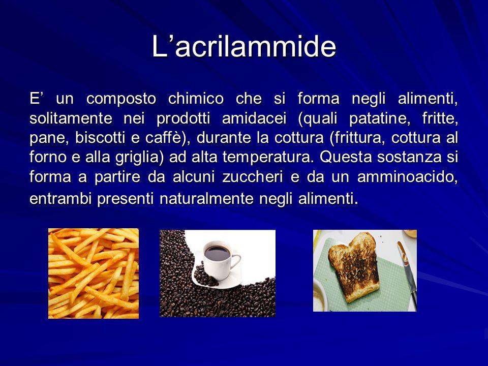 L'acrilammide E' un composto chimico che si forma negli alimenti, solitamente nei prodotti amidacei (quali patatine, fritte, pane, biscotti e caffè),