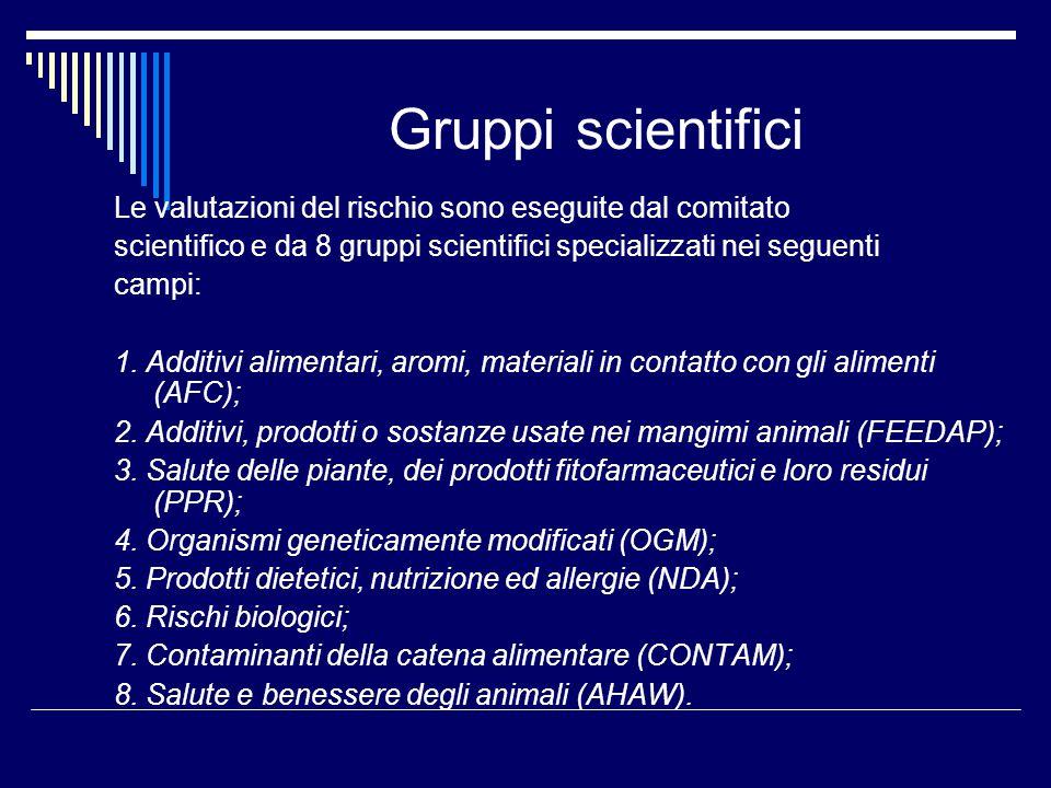 Gruppi scientifici Le valutazioni del rischio sono eseguite dal comitato scientifico e da 8 gruppi scientifici specializzati nei seguenti campi: 1. Ad