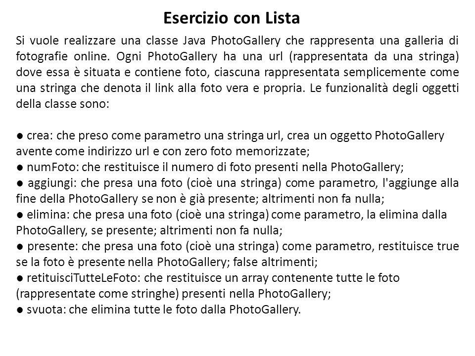 Si vuole realizzare una classe Java PhotoGallery che rappresenta una galleria di fotografie online.