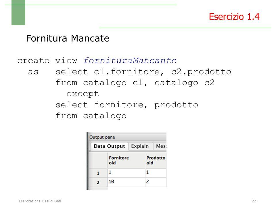 Esercitazione Basi di Dati22 Fornitura Mancate create view fornituraMancante as select c1.fornitore, c2.prodotto from catalogo c1, catalogo c2 except select fornitore, prodotto from catalogo Esercizio 1.4