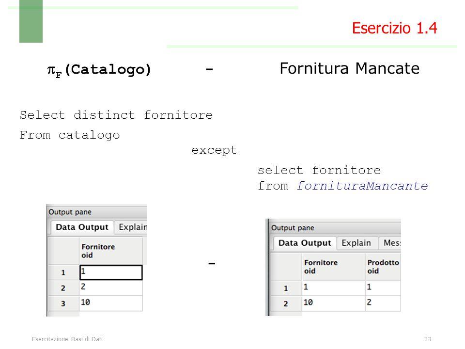 Esercitazione Basi di Dati23  F (Catalogo) - Fornitura Mancate Select distinct fornitore From catalogo Esercizio 1.4 select fornitore from fornituraMancante except -