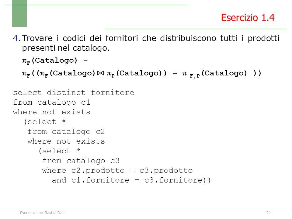 Esercitazione Basi di Dati24 Esercizio 1.4 4.Trovare i codici dei fornitori che distribuiscono tutti i prodotti presenti nel catalogo.