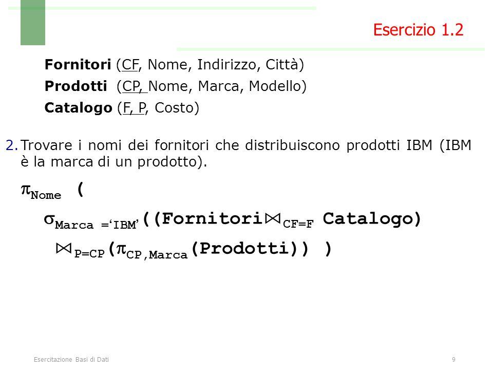 Esercitazione Basi di Dati10 Select * From prodotti, catalogo, fornitori Where codiceProdotto = prodotto and fornitore = codiceFornitore Esercizio 1.2