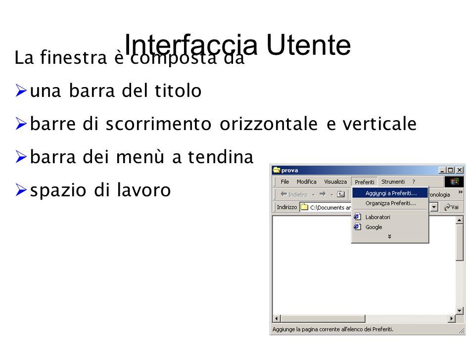 Interfaccia Utente La finestra è composta da  una barra del titolo  barre di scorrimento orizzontale e verticale  barra dei menù a tendina  spazio di lavoro