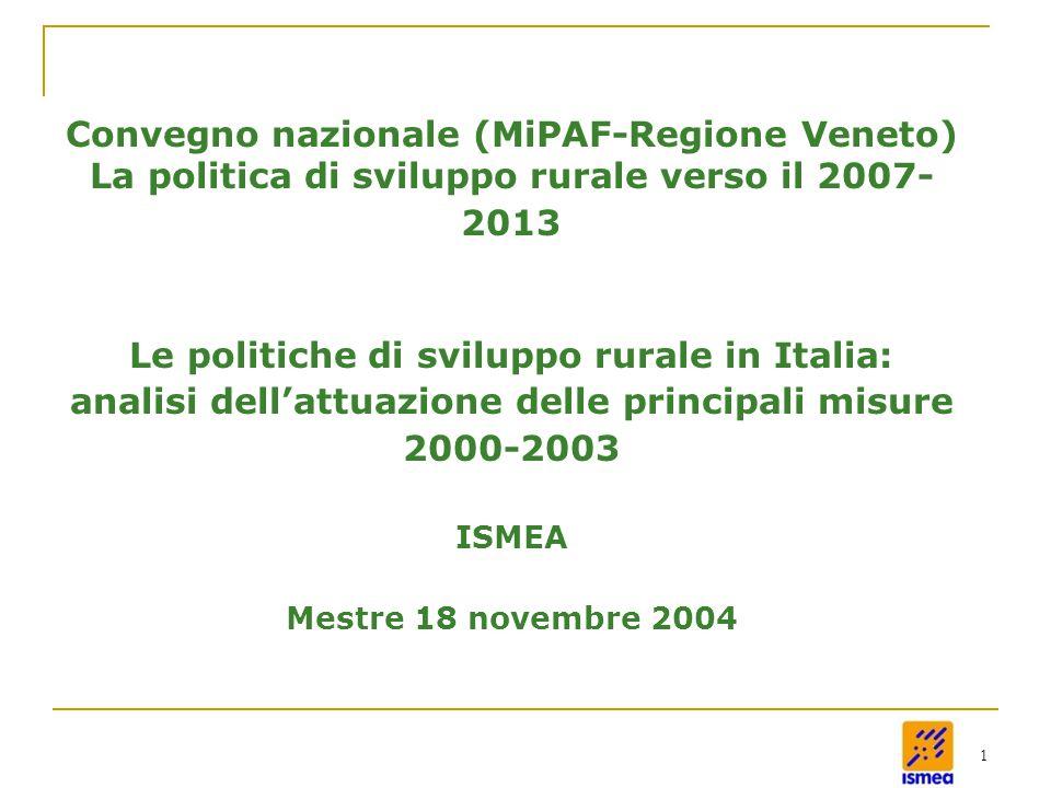 1 Convegno nazionale (MiPAF-Regione Veneto) La politica di sviluppo rurale verso il 2007- 2013 Le politiche di sviluppo rurale in Italia: analisi dell'attuazione delle principali misure 2000-2003 ISMEA Mestre 18 novembre 2004