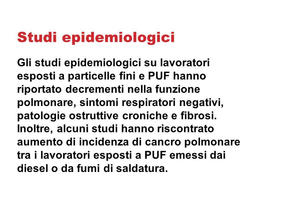Studi epidemiologici Gli studi epidemiologici su lavoratori esposti a particelle fini e PUF hanno riportato decrementi nella funzione polmonare, sintomi respiratori negativi, patologie ostruttive croniche e fibrosi.