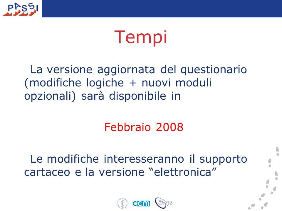 Tempi La versione aggiornata del questionario (modifiche logiche + nuovi moduli opzionali) sarà disponibile in Febbraio 2008 Le modifiche interesseranno il supporto cartaceo e la versione elettronica