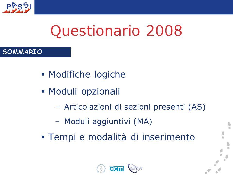 Questionario 2008  Modifiche logiche  Moduli opzionali –Articolazioni di sezioni presenti (AS) –Moduli aggiuntivi (MA)  Tempi e modalità di inserimento SOMMARIO